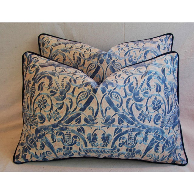 Italian Fortuny Uccelli Down Pillows - A Pair - Image 7 of 11