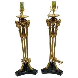 Pair of Louis XVI Style Ormolu & Marble Ram Motif Lamps For Sale