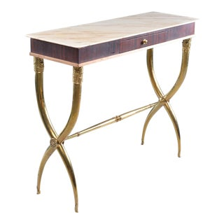 Italian Brass and Marble Neoclassical Style Console For Sale