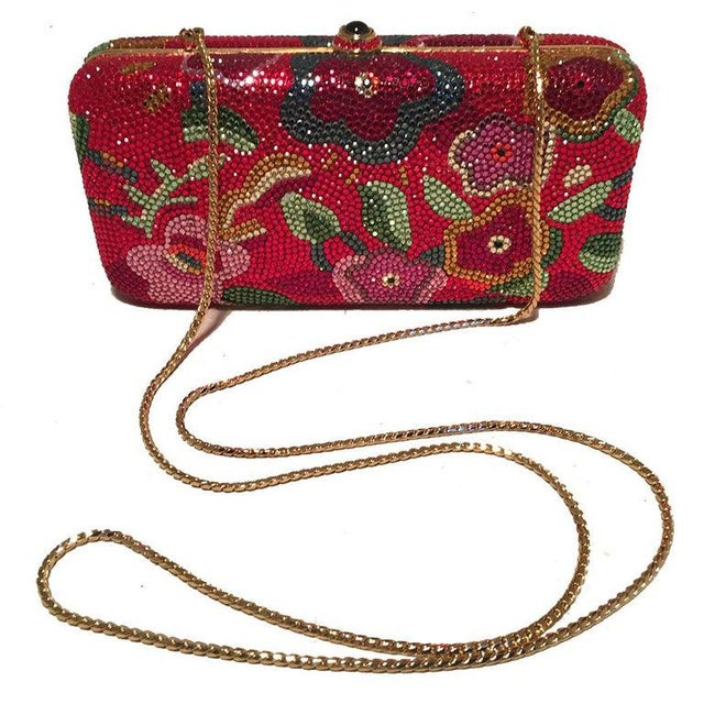 Judith Leiber Judith Leiber Red Swarovski Crystal Floral Print Minaudiere Evening Bag Clutch For Sale - Image 4 of 9