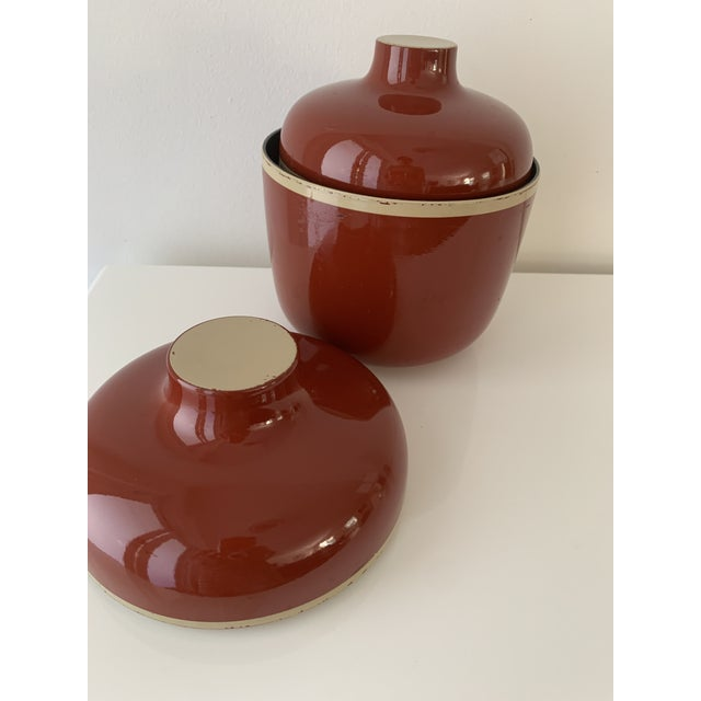 1980s Vintage Brick Red Lacquer Ware Nesting Jars - Set of 4 For Sale - Image 11 of 13