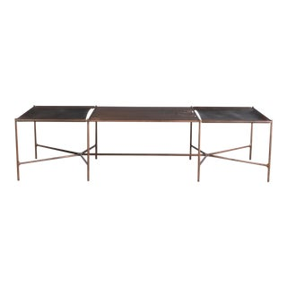 Web Series Cast Bronze, Saddle Leather and Wood Bench by Modern Industry Design For Sale