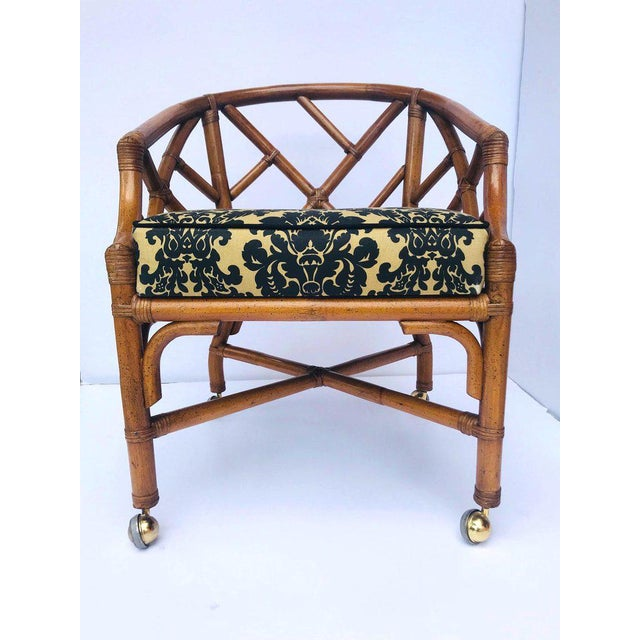 Black 1970's Bamboo and Rattan Chippendale Swivel Desk Chair For Sale - Image 8 of 13