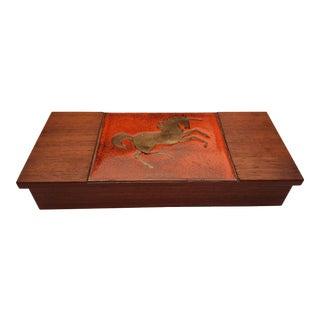 Vintage Mid Century Walnut and Enamel Stylized Horse Box For Sale