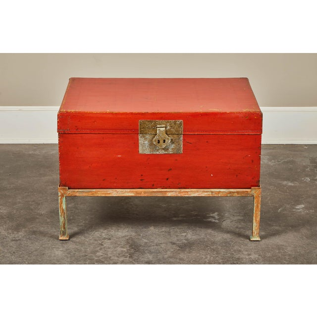 Red Lacquer Pig-Skin Leather Camphor Trunk on Stand For Sale In Los Angeles - Image 6 of 9