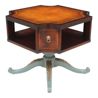 Revolving Mahogany Leather Top Bibliotheque For Sale