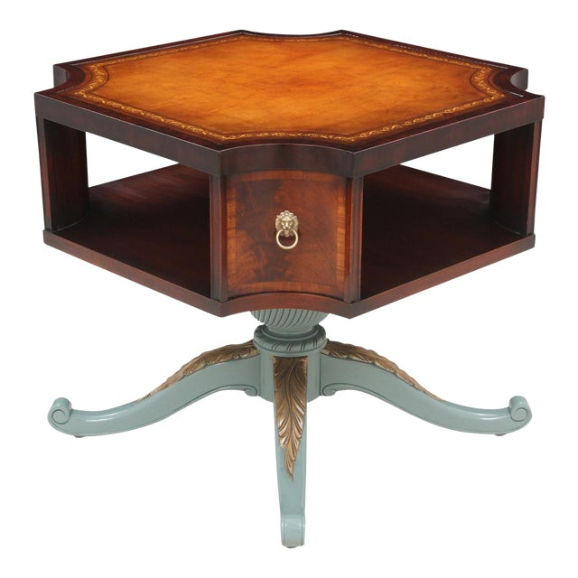 Revolving Mahogany Leather Top Bibliotheque - Image 1 of 7
