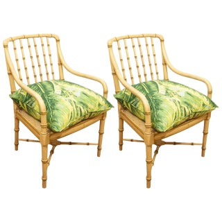 Pair of Green Bamboo Chairs For Sale