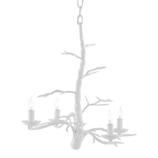 Currey & Co. Modern Small White Treetop Chandelier For Sale