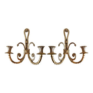 Mid Century French Solid Brass Sconces, a Pair For Sale