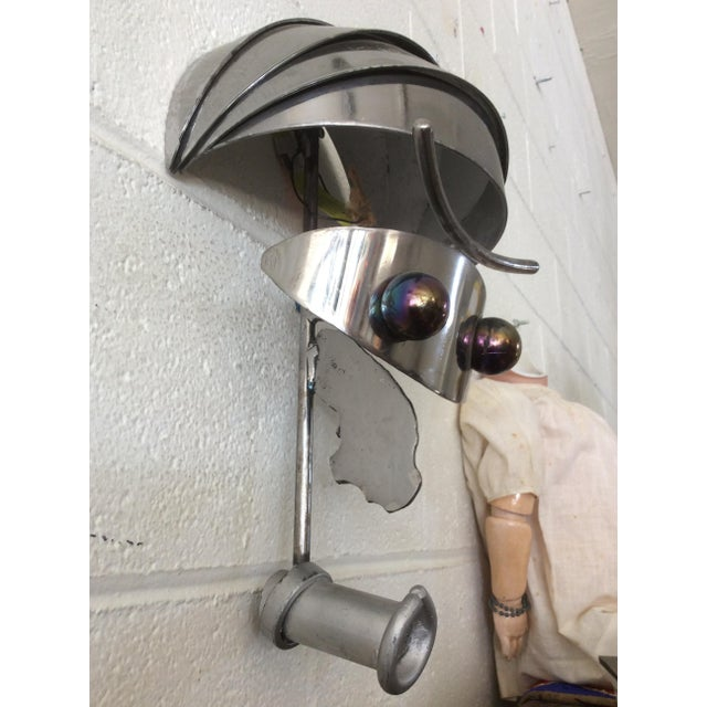 Vintage Iron & Steel Atomic Robot Wall Sculpture For Sale In Sacramento - Image 6 of 9