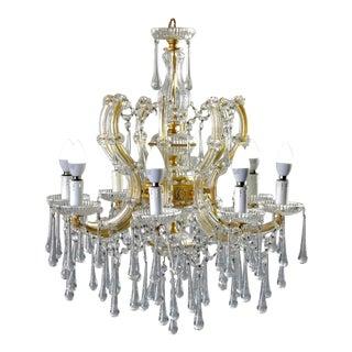 1920s Italian Eight Light Crystal Beaded Chandelier For Sale