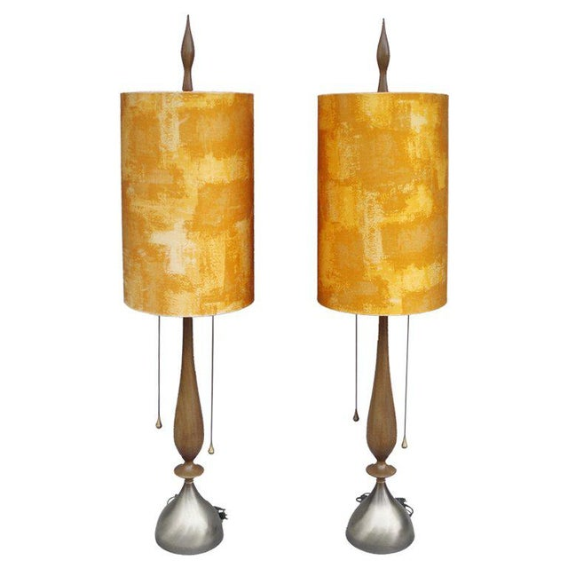 1950s Pair of Walnut With Brass Trim Table Lamps For Sale - Image 5 of 5