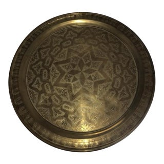 Antique Moroccan Brass Etch Top Tray