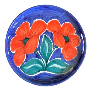 Bellini Italian Pottery Red Flowers Tray For Sale
