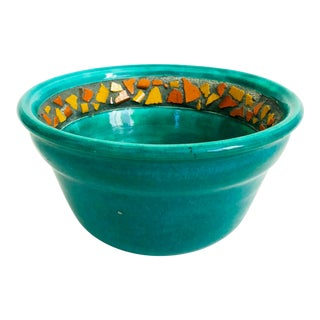 Vintage Green and Orange Handmade Pottery Bowl For Sale