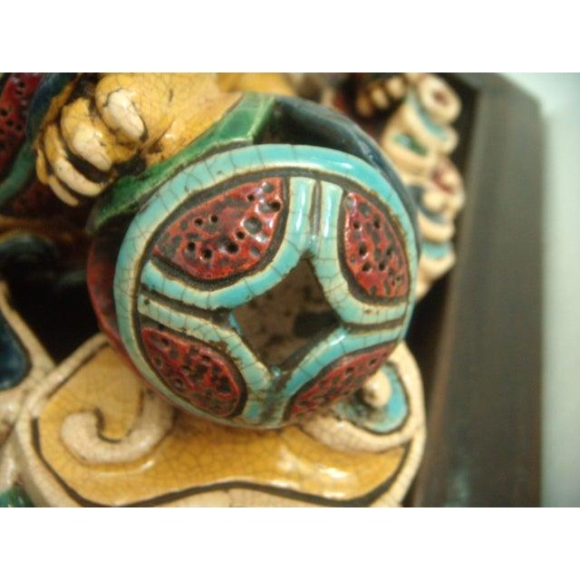 Framed Antique Chinese Ceramic Tile - Foo Dog/Lion For Sale - Image 9 of 10