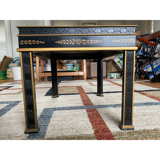 Drexel Heritage Chinoiserie Drexel Heritage Black Lacquer Side Table For Sale - Image 4 of 11