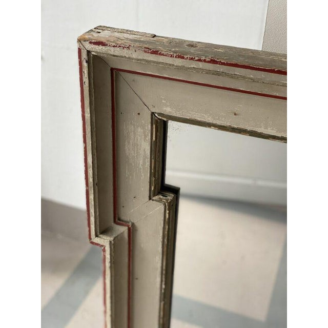 Mid 19th Century French Painted Mirror With Red Trim For Sale - Image 4 of 6