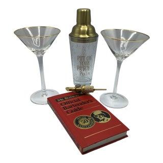 Martini Set for Two With 2 Gold Rim Martini Glasses Pour Spout Martini Shaker Mr. Boston Drink Book - Set of 5 For Sale