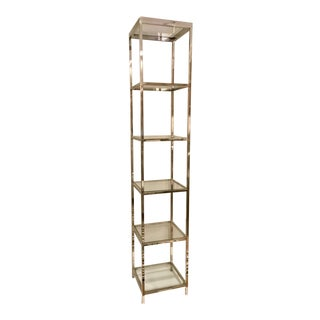 John Richard Modern Stainless Steel and Glass Etagere For Sale