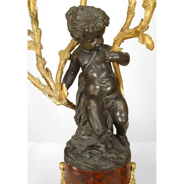 Pair of French Louis XV Style '19th Century' Cupid Five-Arm Candelabra For Sale - Image 4 of 7