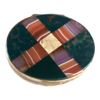 Antique Plaid Scottish Victorian Inlaid Agate Bloodstone Snuff Box For Sale