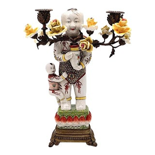 Mid 20th Century Chinese Figural Porcelain & Bronze Candelabra With Yellow Roses For Sale
