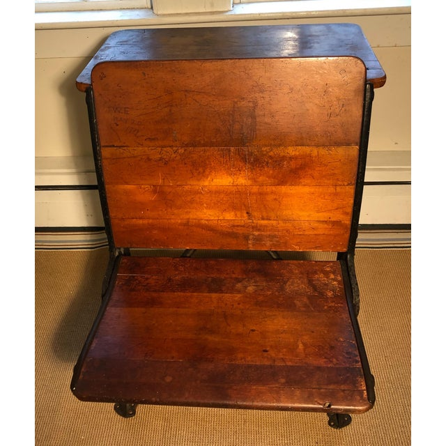 Traditional 1880 Victorian Schoolhouse Desk W/Cast Iron Base Inkwell & Bookshelf For Sale - Image 3 of 11