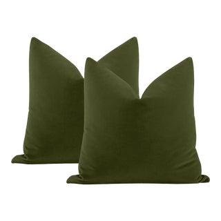 """22"""" Olive Italian Velvet Pillows - a Pair For Sale"""
