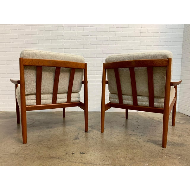 Mid 20th Century Arne Vodder Teddy Faux Fur Danish Modern Lounge Chairs - a Pair For Sale - Image 5 of 11