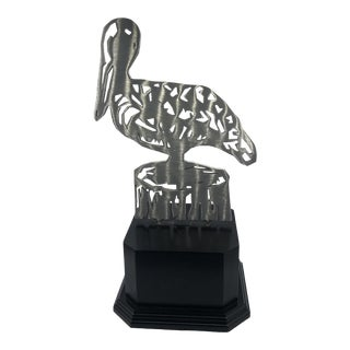 Modern Metal Cut Pelican Statue For Sale
