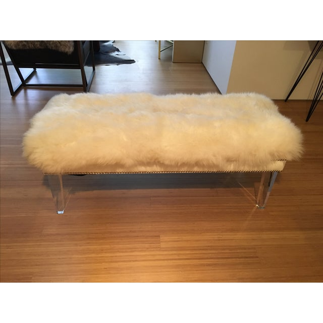 Sheepskin Lucite Bench - Image 2 of 4