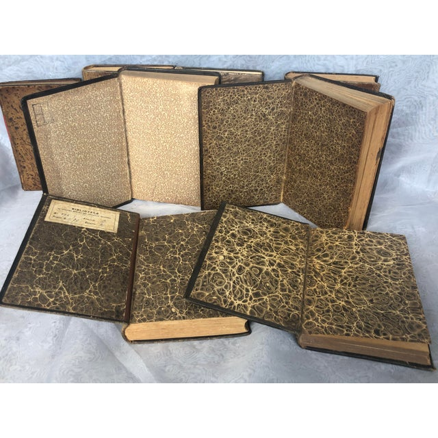 Antique Leather Bound Spanish Books - Set of 8 For Sale - Image 9 of 13