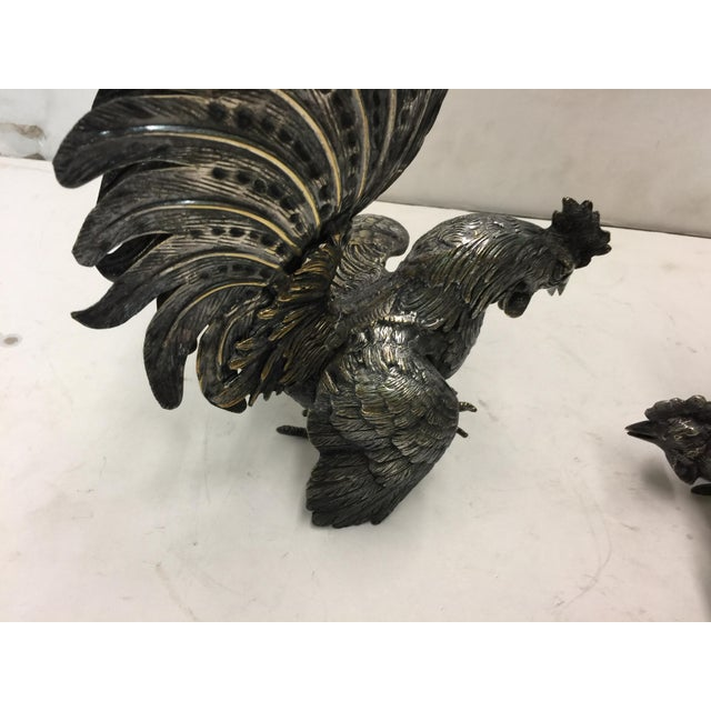 Metal Decorative Silver Roosters - a Pair For Sale - Image 7 of 9