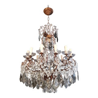 Antique Florentiner Crystal Chandelier Ceiling Lamp Lustre Art Nouveau Rarity For Sale
