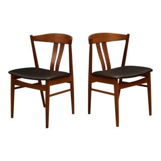 Vintage Vejle Stole Mobelfabrik Danish Modern Teak Dining Chairs - a Pair
