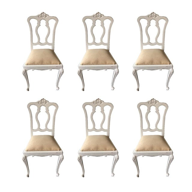 White Set of Six Vintage French Chairs For Sale - Image 8 of 8