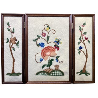 Jacobean Tree Needlepoint Folding Screen Panels For Sale