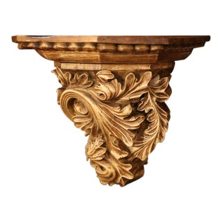 19th Century French Carved Walnut Wall Bracket With Scroll Leaf Decor For Sale