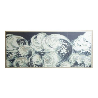 """Waves"" Silver Leafed Print in Acrylic Box For Sale"