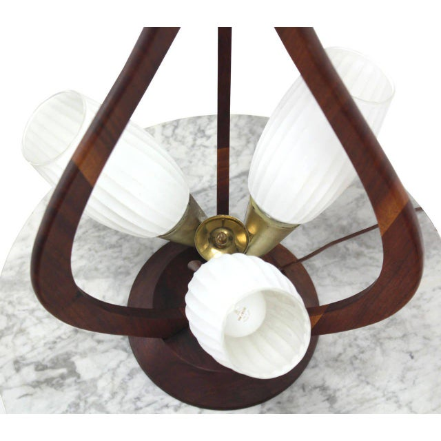 Early 20th Century Danish Modern Walnut Brass and Glass Table Lamp For Sale - Image 5 of 8