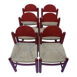 1970s Vintage Charlotte Perriand Style Mid-Century Modern Chairs - Set of 6 For Sale