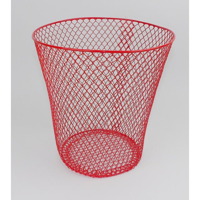 Vintage Mid-Century Modern Red Wire Metal Waste Bucket - Image 10 of 11