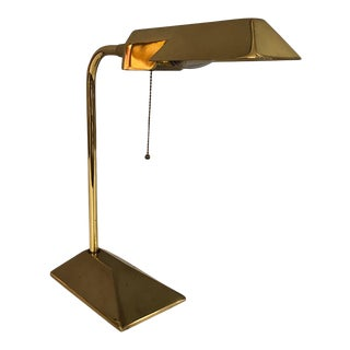 Mid Century Solid Brass Adjustable Desk/Table Lamp With Brass Shade 1960's Circa
