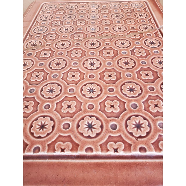Mauve 19th Century French Sarreguemines Ceramic Tile Heating Stove For Sale - Image 8 of 12
