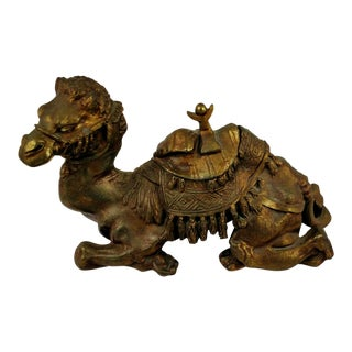 Antique Bronze Patina Spelter Metal Camel Desk Top Inkwell With Insert