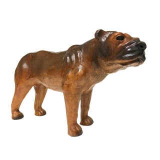 Standing Handmade Large Leather French English Bulldog Pet Figurine For Sale