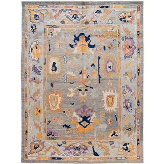 21st Century Modern Oushak Wool Rug For Sale