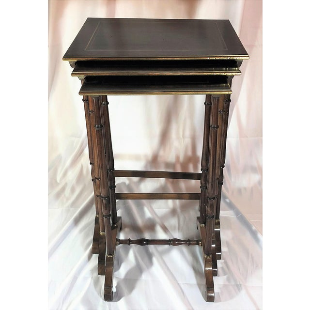 Bronze Antique French Mahogany With Bronze Inlay Nest of Tables , Over 100 Years Old. For Sale - Image 7 of 7